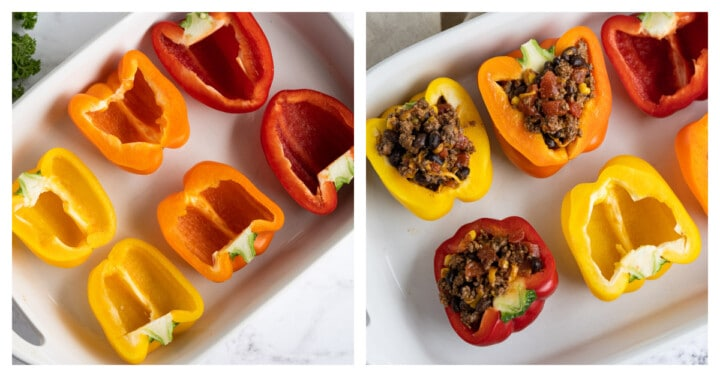 adding stuffing to the peppers