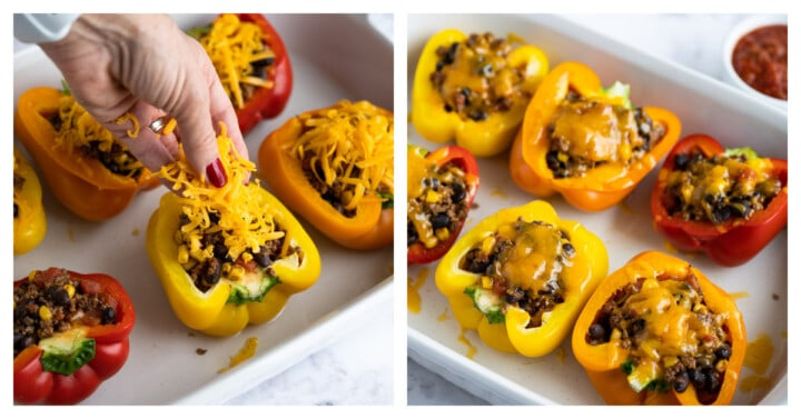 topping peppers with cheese