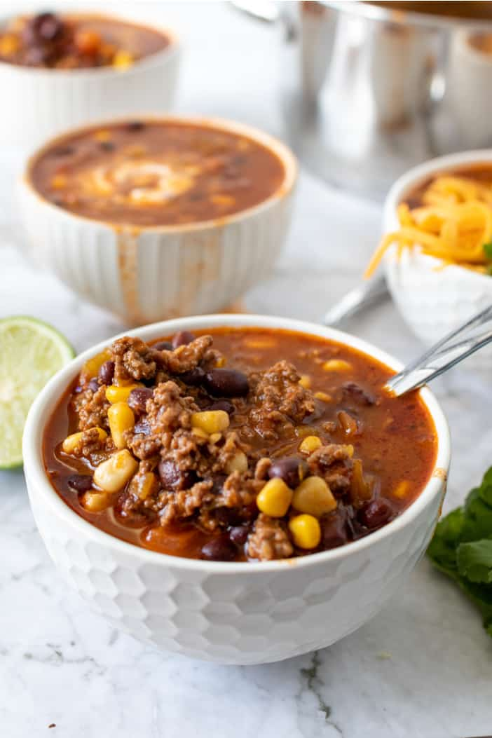 taco soup in a white bowl