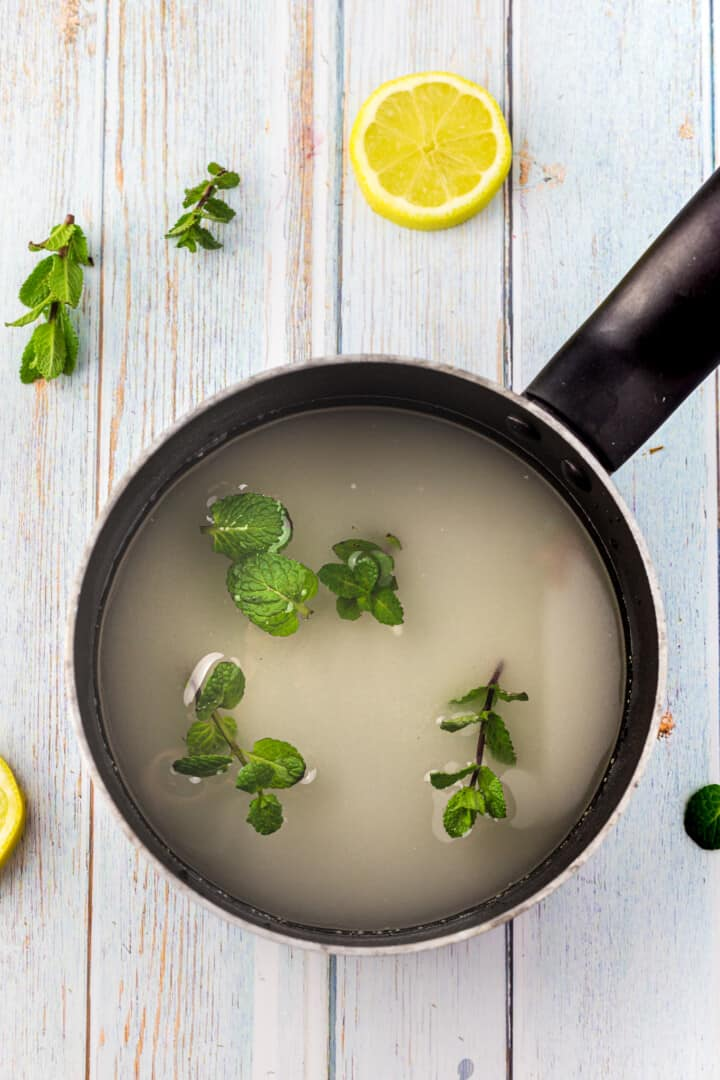 water and mint in a pot