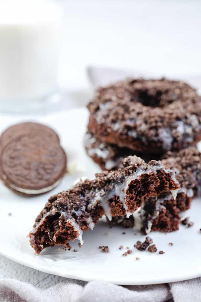 Brownie Mix Donuts cut in half