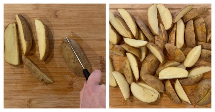 cutting potatoes on wooden board