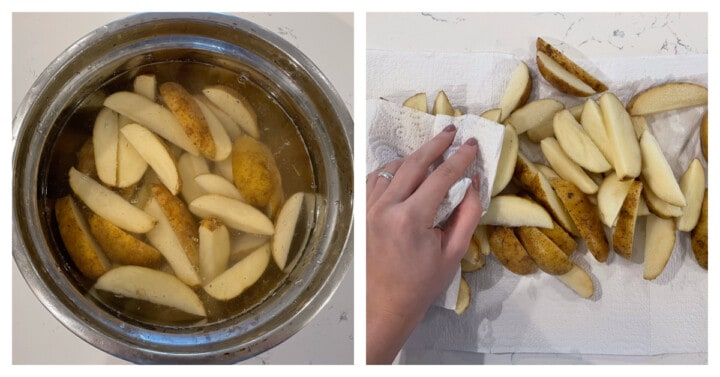 soaking potatoes in water then patting dry
