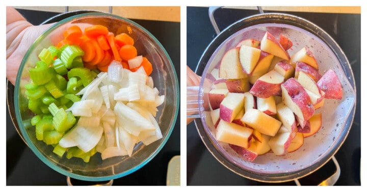 adding veggies to a large pot