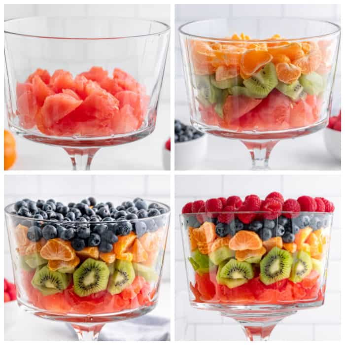adding fruit in layers to the bowl
