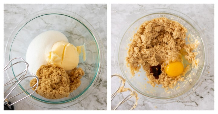 adding dry ingredients to clear mixing bowl
