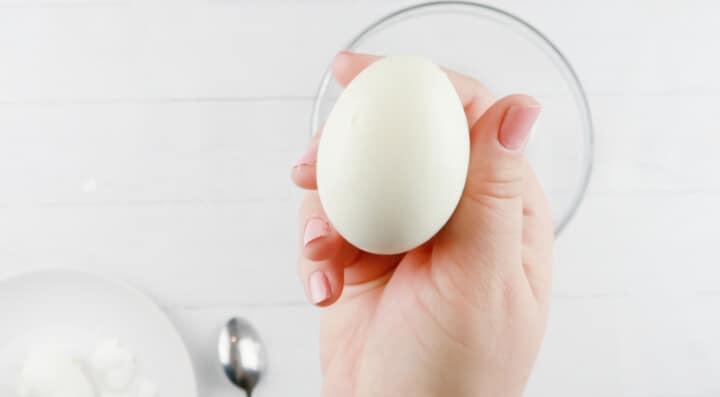 hard boiled egg peeled in hand