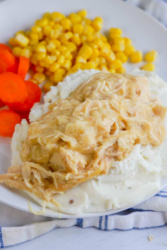 chicken gravy on top of mashed potatoes