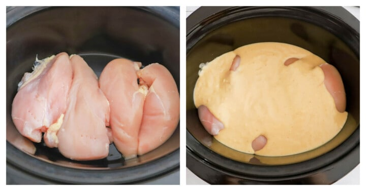 adding chicken to the slow cooker