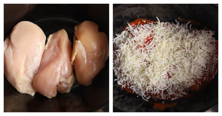 adding ingredients into the slow cooker