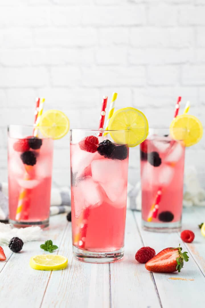 Sparkling Berry Lemonade recipe in a glass