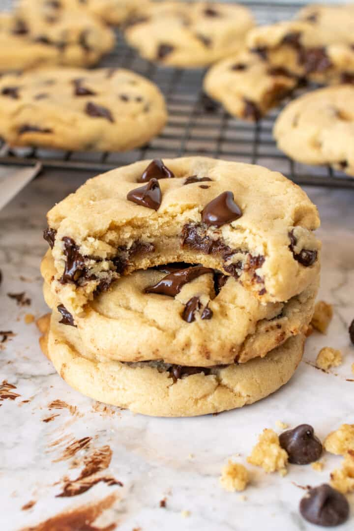Chocolate Chip Cookies stacked up together