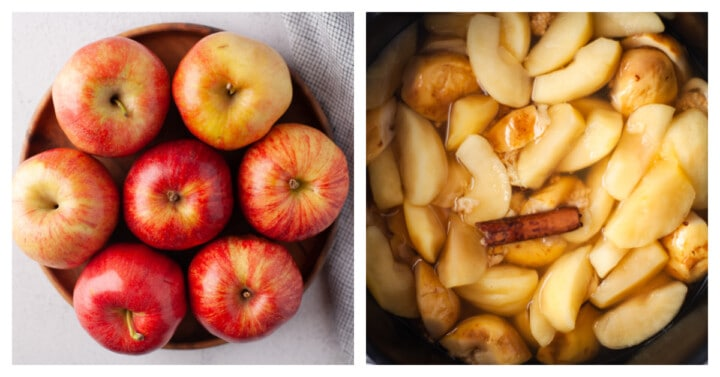 apples in the slow cooker sliced