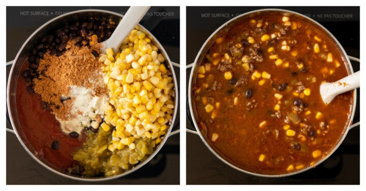 adding corn and salsa to the pot