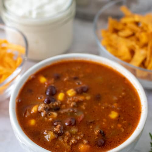 turkey taco soup in a bowl