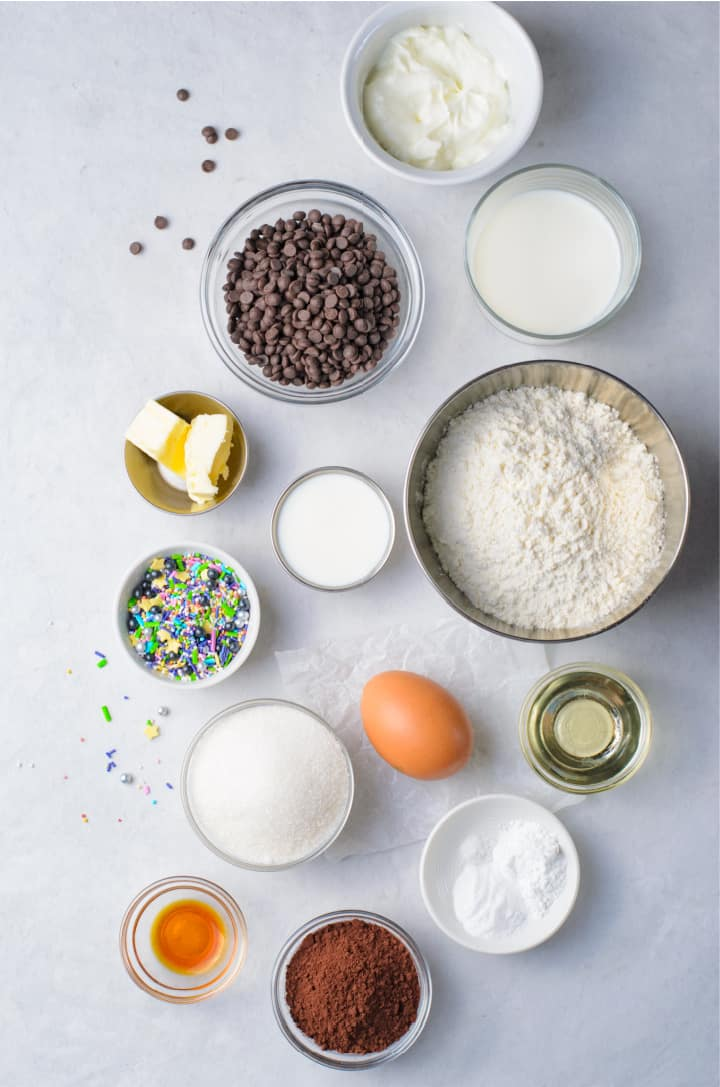 Ingredients for Chocolate Doughnuts