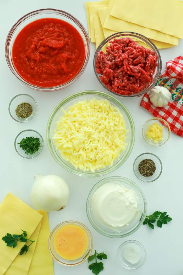 all ingredients for Lasagna on a white table