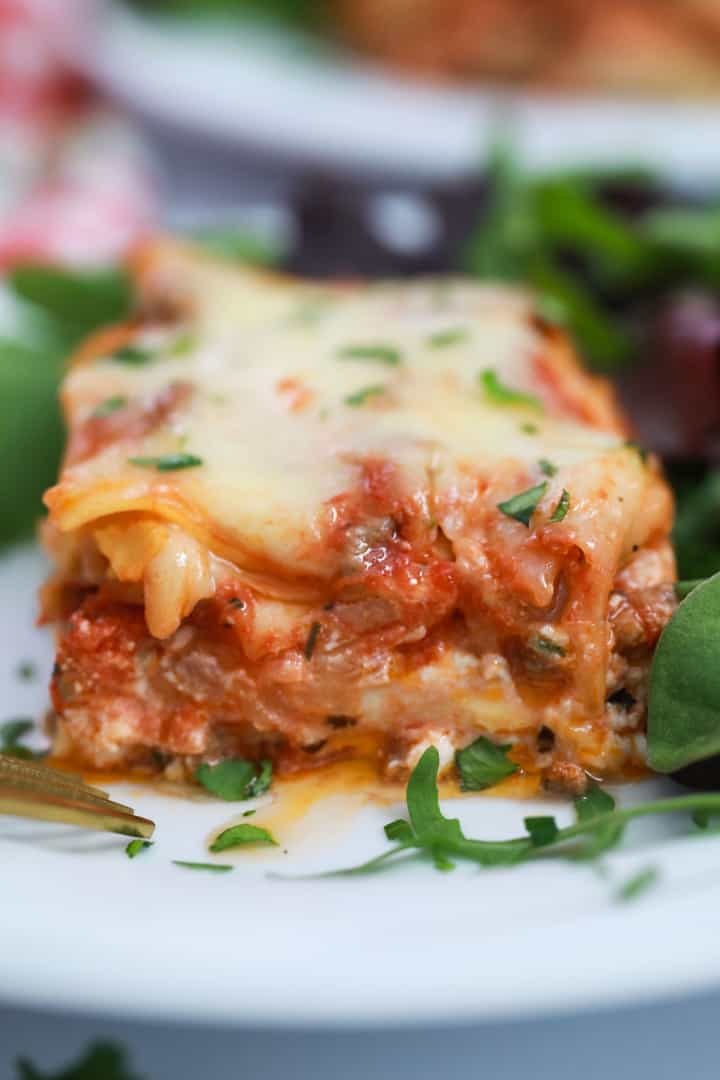 Lasagna sitting on a plate