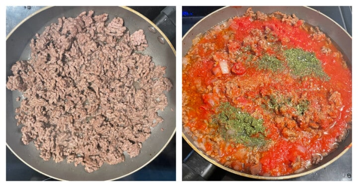 ground beef in skillet and adding ingredients