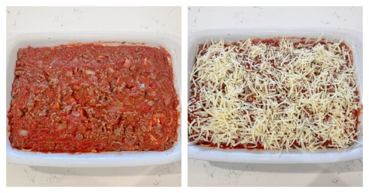 adding cheese to the casserole dish