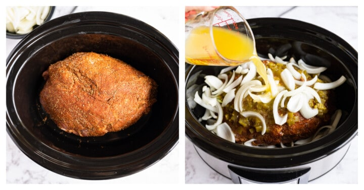 pork in the slow cooker and adding the remaining ingredients to the slow cooker