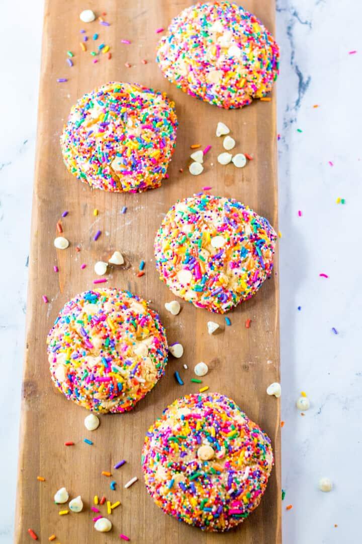 Gideon's Bakehouse copycat sprinkle funfetti cookies on wooden serving board