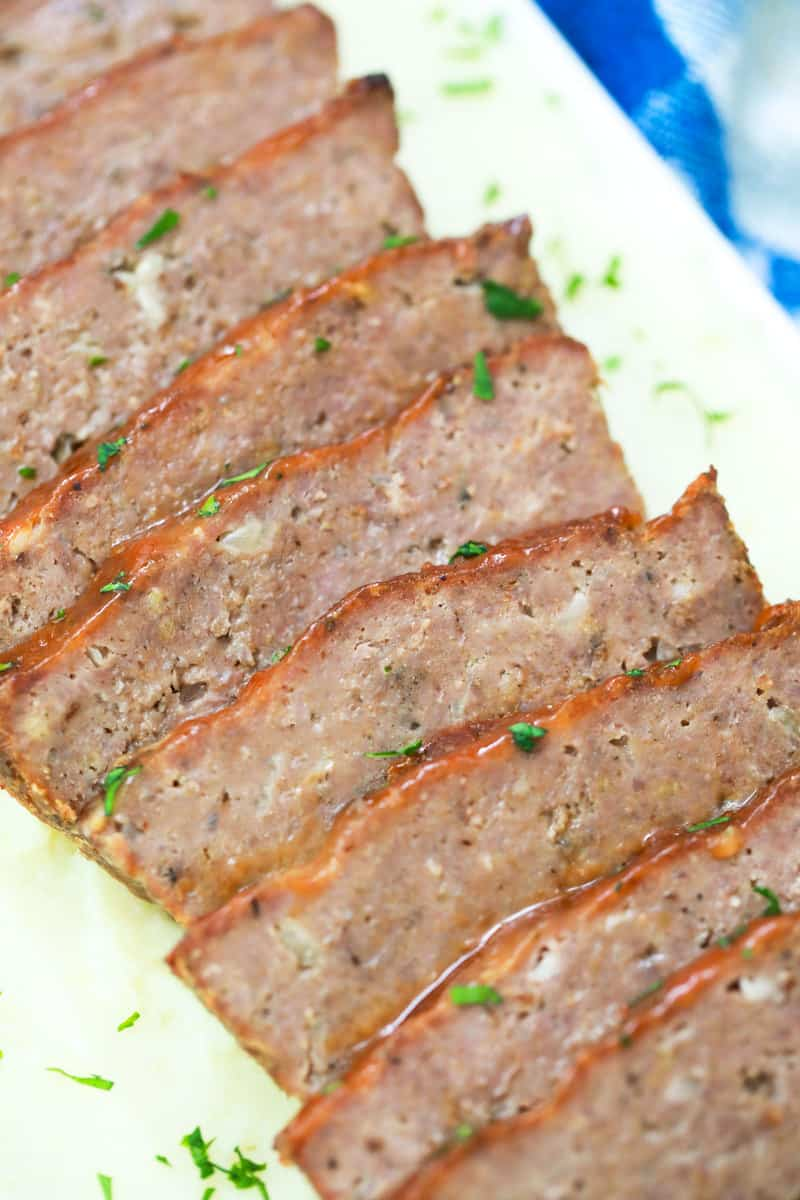closed up of meatloaf garnished with parsley