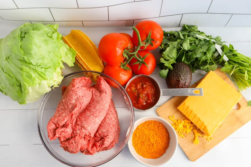 ingredients for ground beef tacos