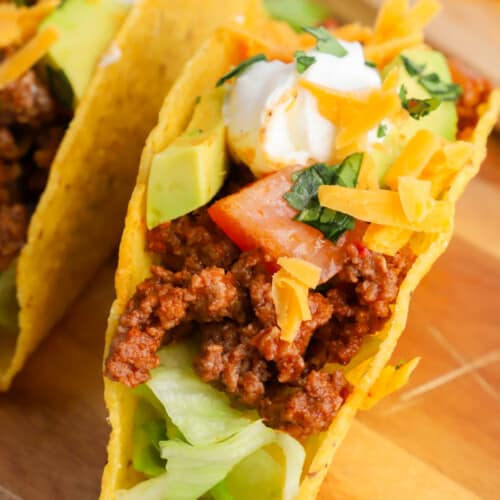 ground beef tacos in a shell