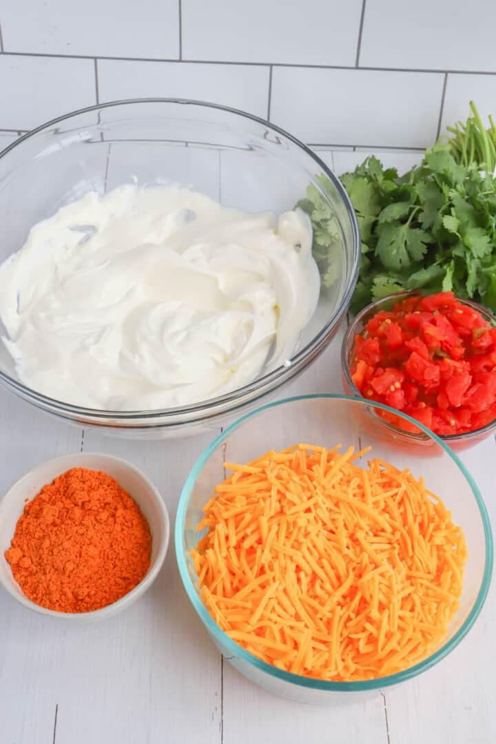 ingredients for fiesta taco dip
