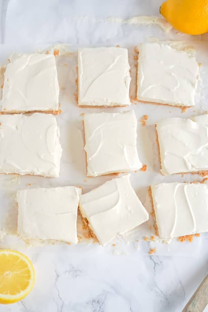 cheesecake bars diced into squares