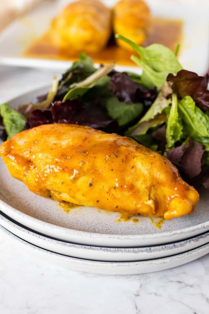 Honey Mustard Chicken on a white plate