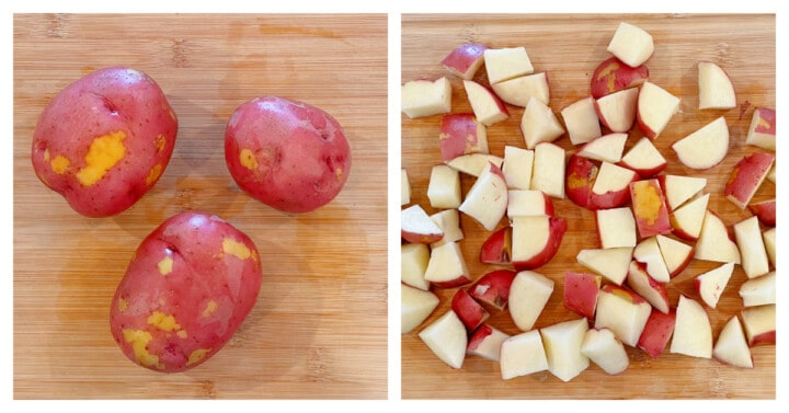 Dicing red potatoes on a wooden cutting board
