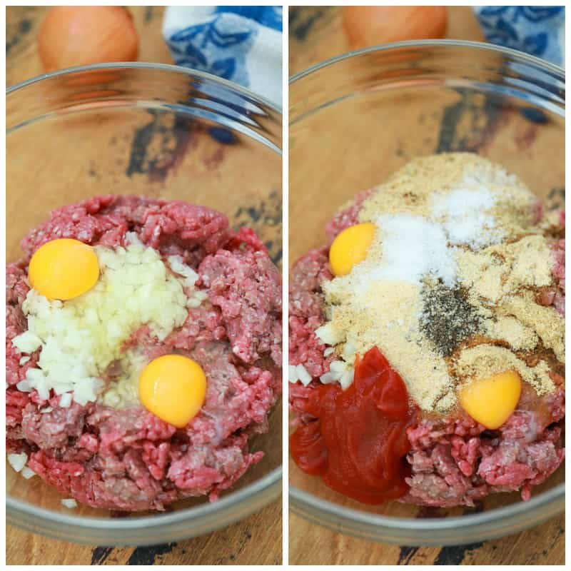 meatloaf ingredients mixed in a glass bowl before forming in the pan