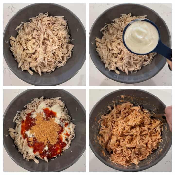 shredded chicken with the ranch dressing and seasonings added to it in a mixing bowl