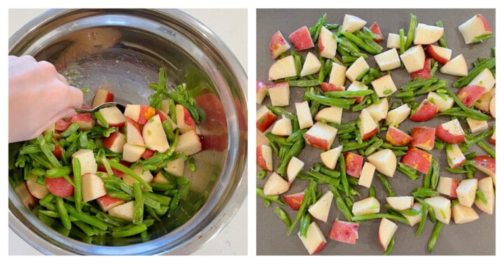 Adding potatoes and green beans to mixing bowl to mix with oil and seasoning
