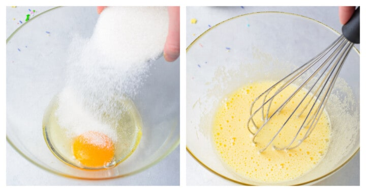 mixing egg and sugar in a clear mixing bowl