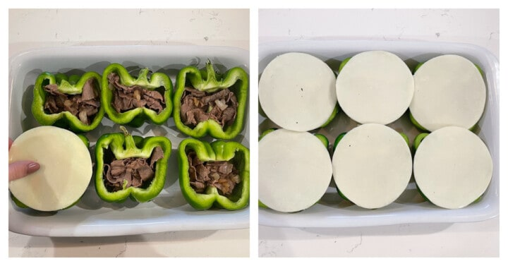 Adding cheese on top of the bell peppers in white casserole dish