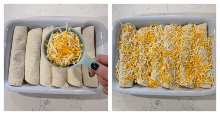 topping enchiladas with cheese