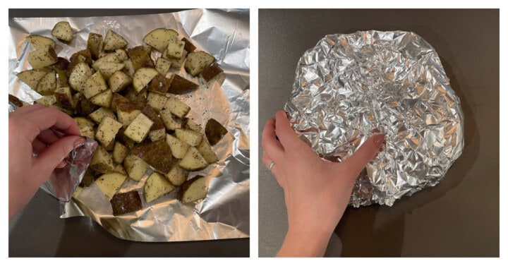 packing potatoes in tin foil to get ready for cooking
