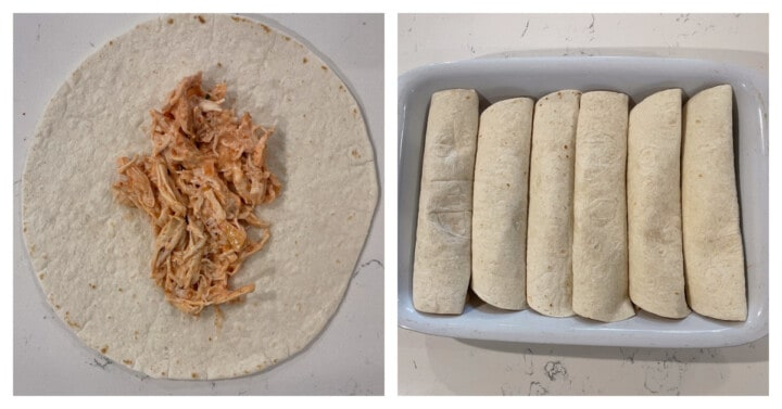 adding ranch chicken filling to tortillas and placing in a baking dish