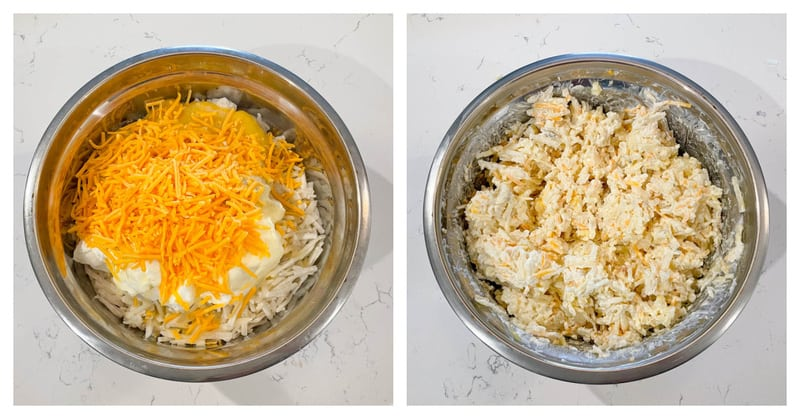 mixing the ingredients in a metal mixing bowl