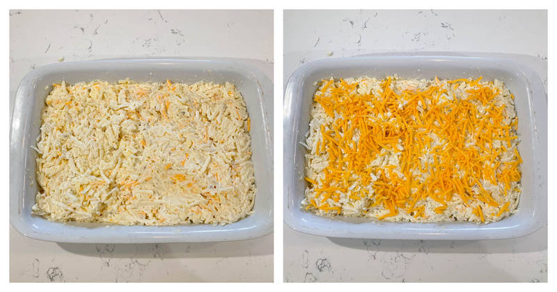 spreading the hashbrown mix into a casserole dish and topping with cheese