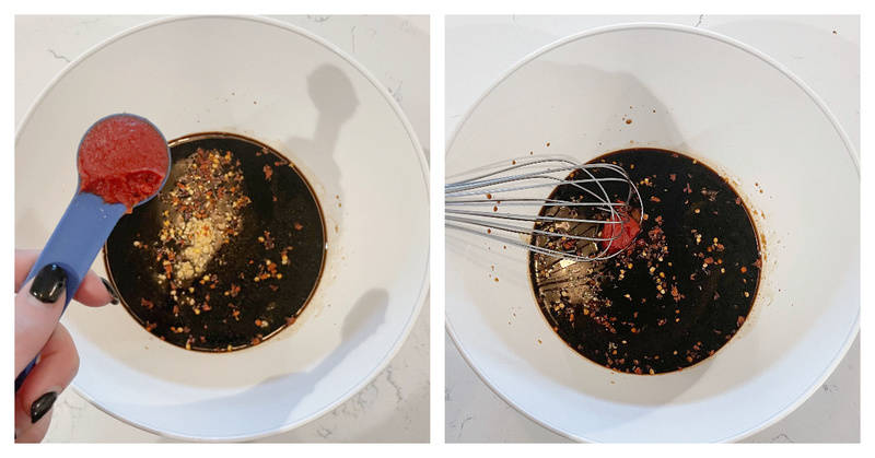 mixing the sauce for the drumsticks