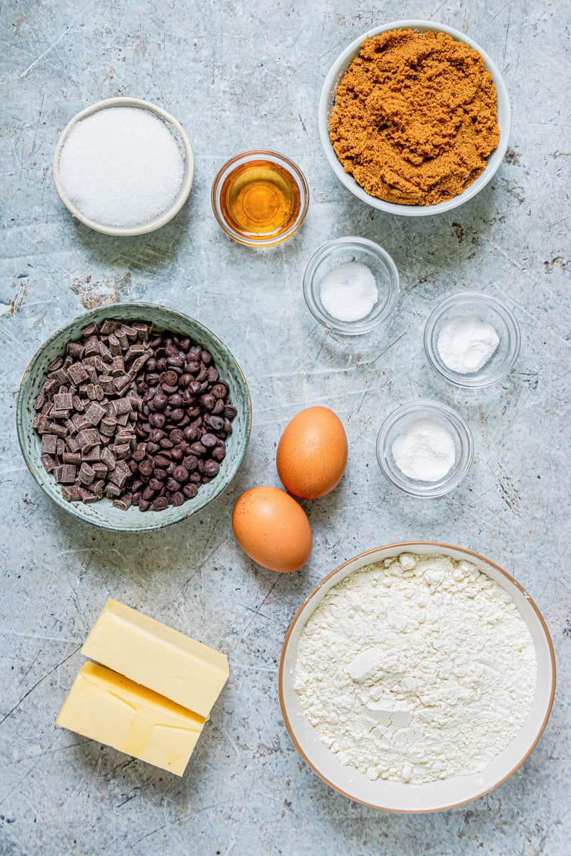 ingredients for brown butter chocolate chip cookies