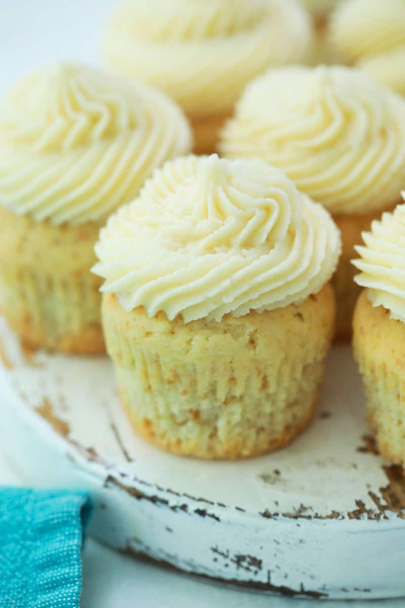 vanilla cupcakes on serving tray
