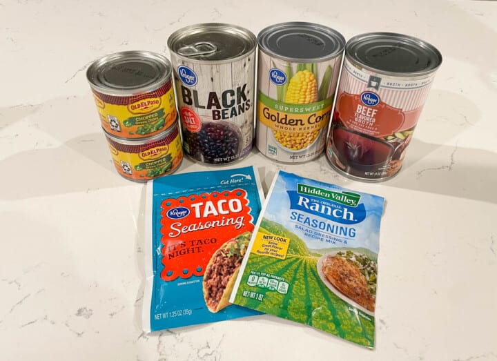 ingredients for making slow cooker taco soup