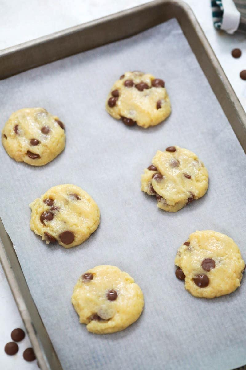 cake mix cookies on baking sheet