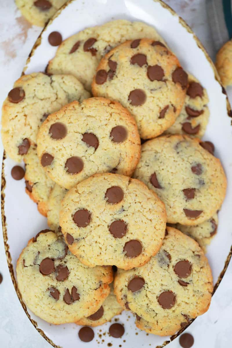 Cake Mix Chocolate chip cookies on white plate