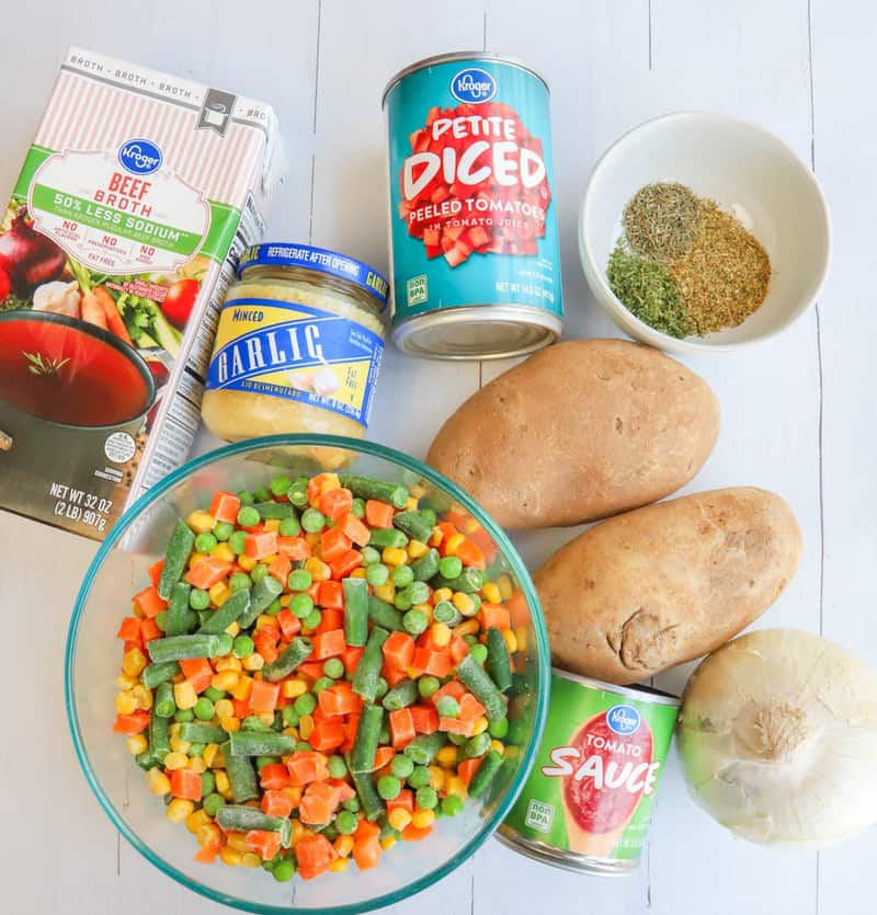 ingredients for vegetable soup